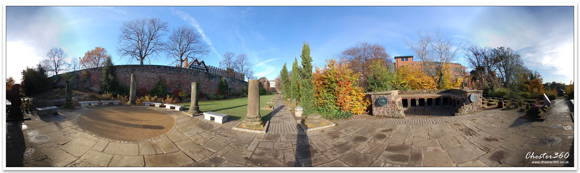 Panoramic Photo of the Roman Gardens in Chester